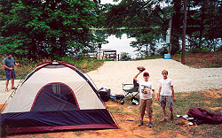 Camping at the graveled RV pad next to Lake Gayle of the Bar-D Club