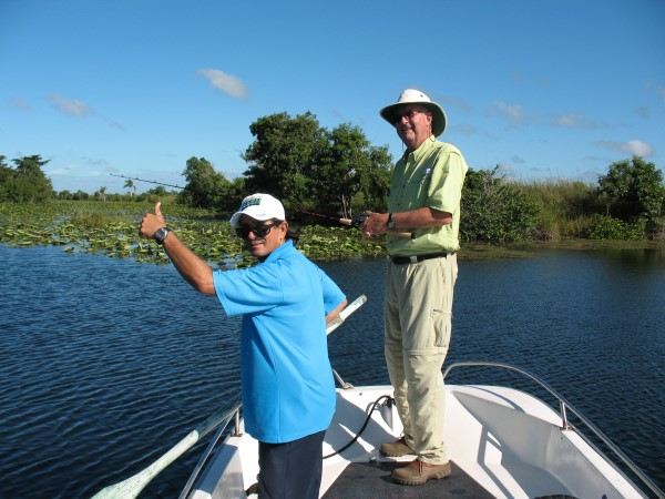 Manager Wilson and guide Alfredo on Treasure Lake, Cuba, 2009