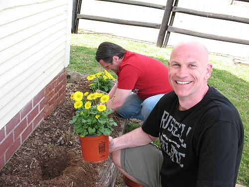 Dave and Jerry planting flowers