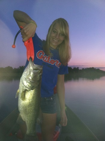 Rebecca Ream with big Donavan Lakes bass, May, 2012