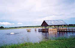 Party pier on Sturdivant Lake with aerator